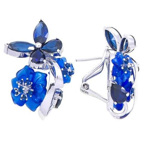 Серьги с цветами из синего кварца и сапфиром Арт.2201сс