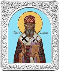Святой Макарий. Маленькая икона в серебряной раме.