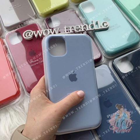 Чехол iPhone 6/6S Silicone Case Full /lilac cream/ голубой