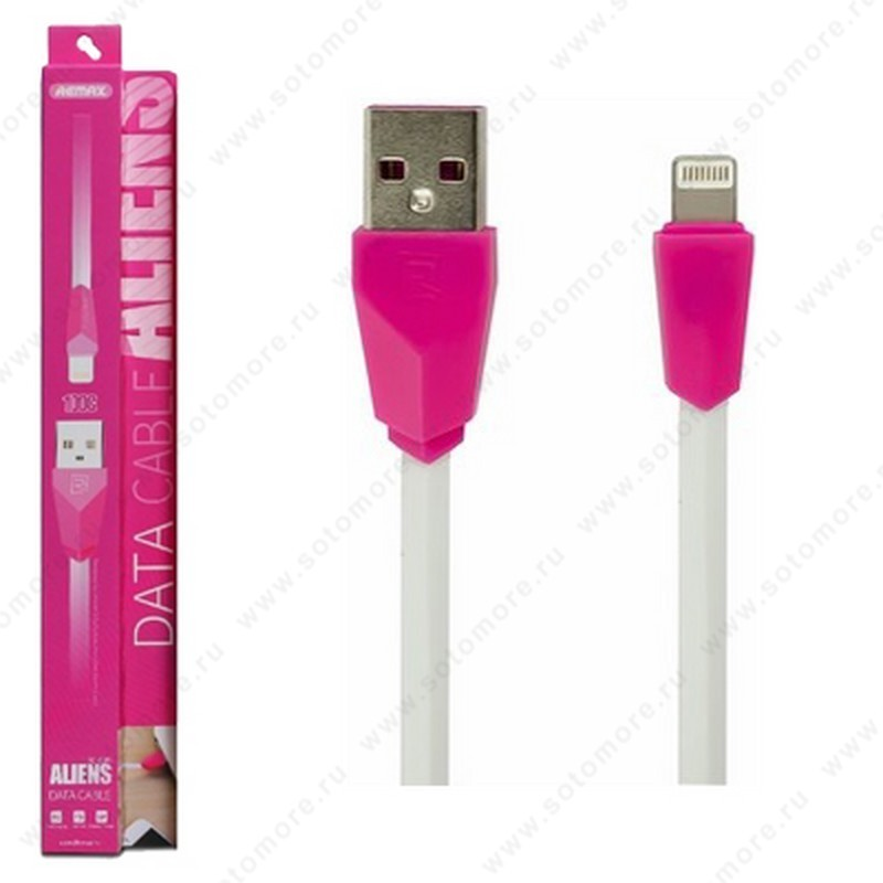 Кабель REMAX RC-030i ALIENS Lightning to USB 1.0 метр  кабель белый штекер розовый