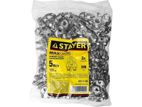Зажим троса DIN 741, оцинкованный, 5мм, 100 шт, STAYER Master 30535-05