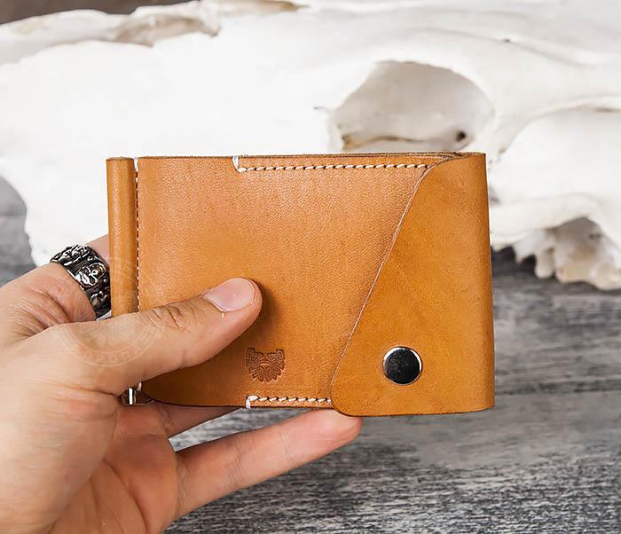 WB165-2 Тонкий кожаный зажим для купюр ручной работы фото 07