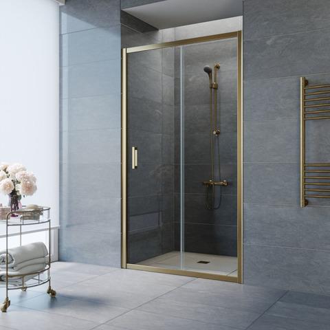 Душевая дверь в нишу Vegas Glass ZP профиль бронза, стекло прозрачное