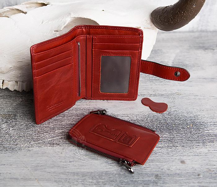 WL287-3 Красный кошелек из натуральной кожи на застежке фото 09