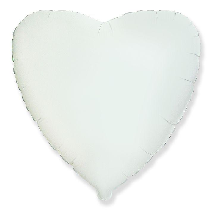 Шар сердце белое 46 см