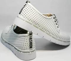 Женские спортивные туфли блюхеры с перфорацией GUERO G177-63 White.