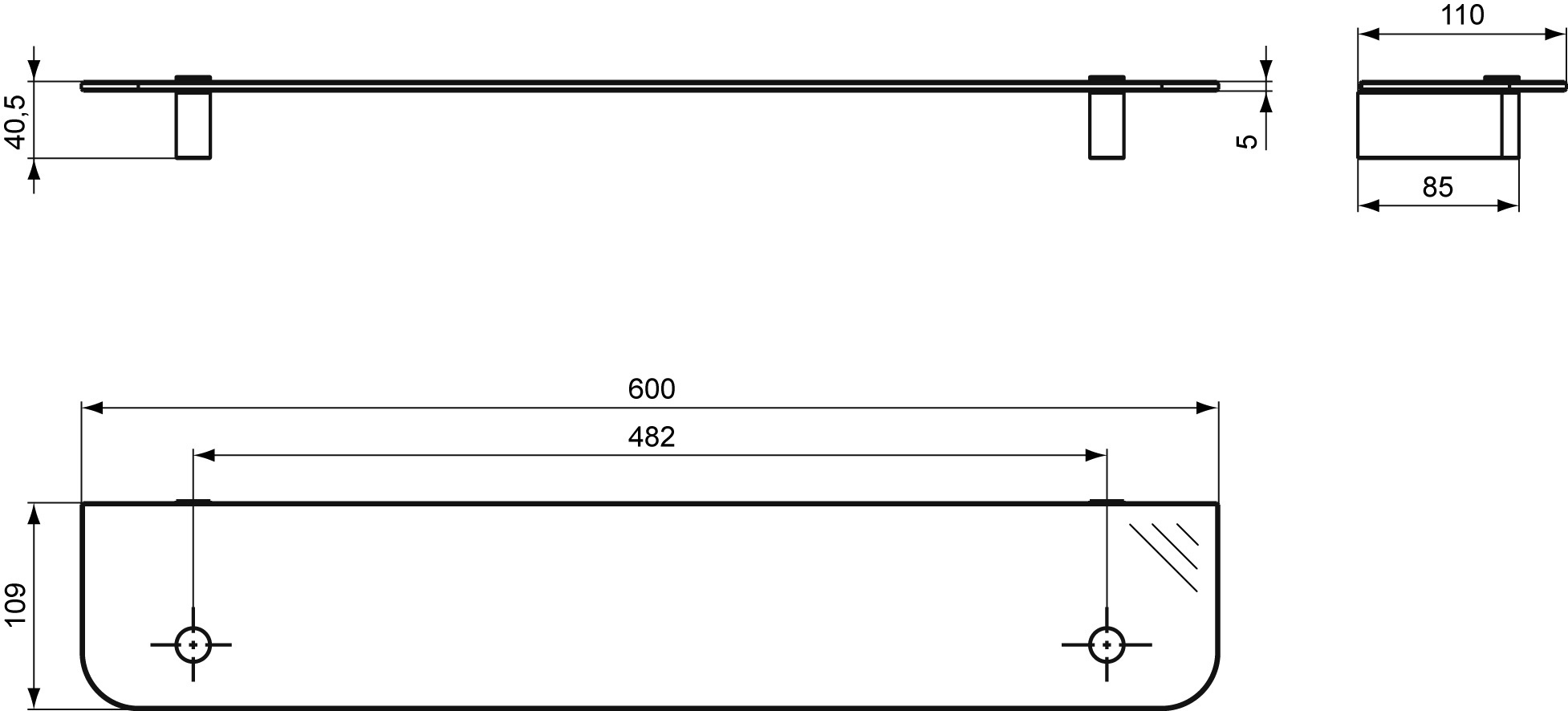 Стеклянная полочка Ideal Standard CONNECT N1394AA