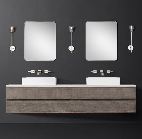 Monterey Double Extra-Wide Floating Vessel Vanity - Stone Top - Wall Mount