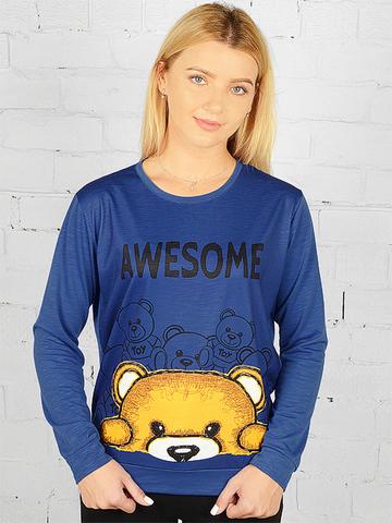 K031-4 футболка женская дл. рукав, синяя
