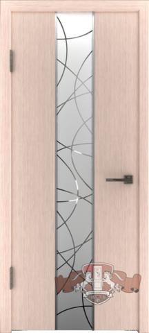 Дверь Владимирская фабрика дверей Токио зеркало1 16ДО5 , цвет беленый дуб, остекленная