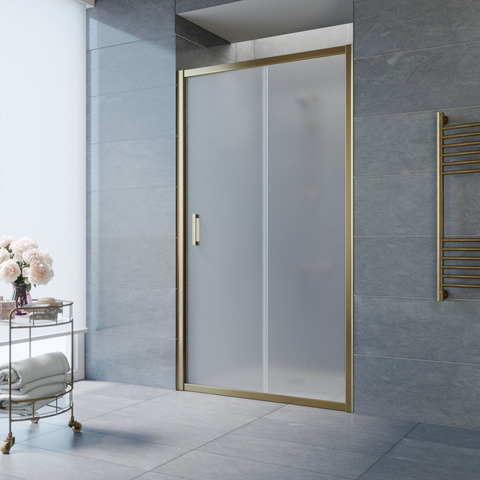 Душевая дверь в нишу Vegas Glass ZP профиль бронза, стекло сатин