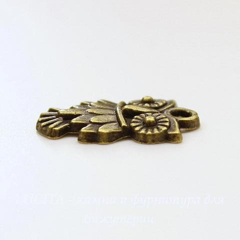 "Подвеска ""Сова"" 19х11 мм (цвет - античная бронза)"