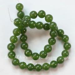 Бусина Жадеит , шарик, цвет - болотный зеленый, 10 мм, нить