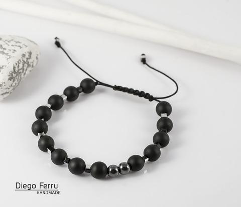 BS602 Стильный браслет из шунгита, кристаллов и гематита, ручная работа. &#34Diego Ferru&#34
