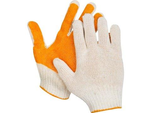 ЗУБР ПРОТЕКТОР, размер S-M, перчатки трикотажные, с ПВХ покрытием, 11452-S