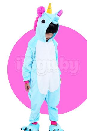 """Детские пижамы кигуруми """"Единорог Бирюзовый"""" единорог_бирюзовый_детский.jpg"""