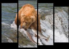 """Модульная картина """"Медведь ловит рыбу"""""""