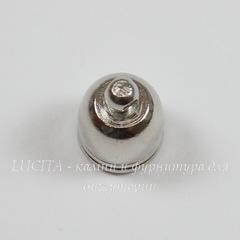 Концевик для шнура 8,5 мм, 13х10 мм (цвет - платина)