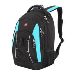 Рюкзак WENGER, цвет черный/синий, со светоотражающими элементами