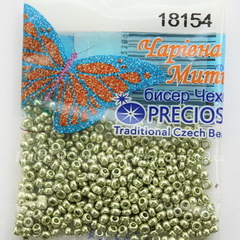 18154 Бисер 10/0 Preciosa Кристалл Соль-Гель металлик оливковый
