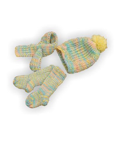 Вязаный комплект - Меланж зеленый. Одежда для кукол, пупсов и мягких игрушек.