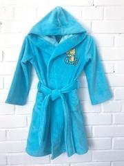 Детский  банный  бамбуковый  халатик с капюшоном  МАЛЫШ цвет голубой