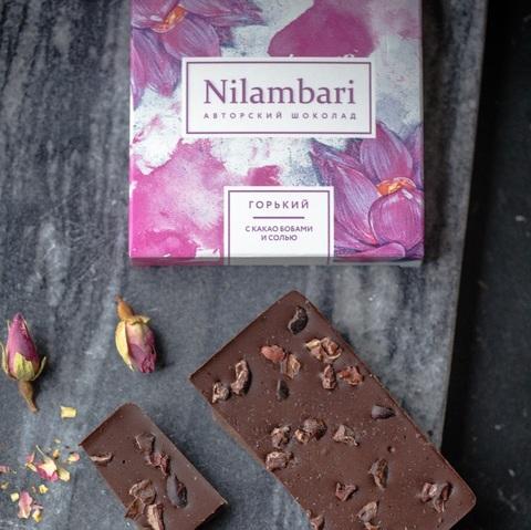 Фотография Шоколад горький Nilambari с какао-бобами и солью, 65 г купить в магазине Афлора