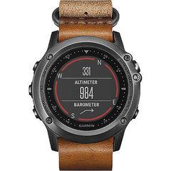 Спортивные смарт часы Garmin Fenix 3 Sapphire серые с кожаным ремешком (без датчика) 010-01338-81