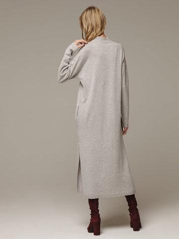 Женское серое платье с разрезами из шерсти и кашемира - фото 3