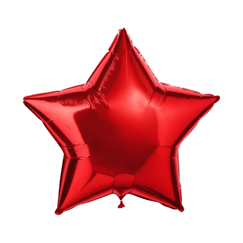Фольгированный шар звезда, металлик красный