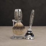 Бритвенный набор MUEHLE EDITION, барсучий ворс высшей категории Silvertip, бритва Fusion, мореный дуб, стерлинговое серебро (S 493 ED 3)