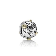 Starflower, floral silver charm, 14k, 0.03ct TW cognac coloured diamonds