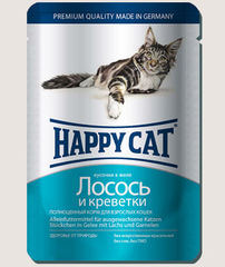 Пауч для кошек Happy Cat лосось и креветки в желе