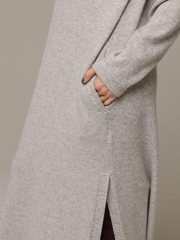 Женское серое платье с разрезами из шерсти и кашемира - фото 4