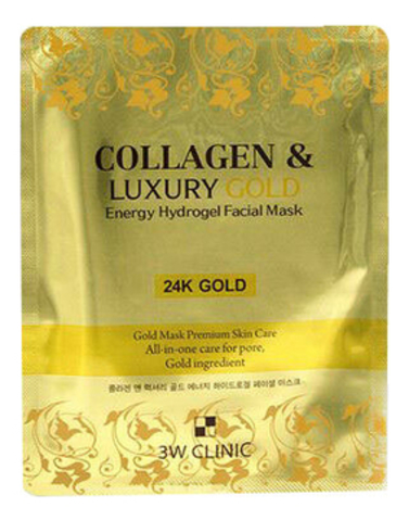 3W CLINIC Гидрогелевая маска для лица с золотом Collagen & Luxury Gold Energy Hydrogel Facial Mask