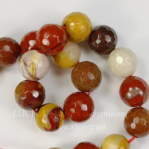 Бусина Яшма Мукаит, шарик с огранкой, 10 мм, нить