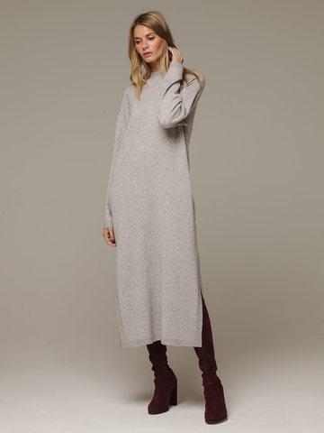 Женское серое платье с разрезами из шерсти и кашемира - фото 1