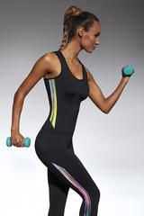 Майка для фитнеса 200 den черная с цветными вставками