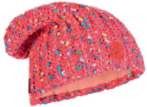 Шапка вязаная с флисом Buff Hat Knitted Polar Yssik Pink Fluor