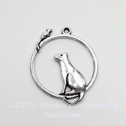 """Подвеска  """"Кошка с мышкой"""" (цвет - античное серебро) 32х26 мм"""