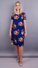 Марта. Принтованное платье плюс сайз. Синий+цветы.