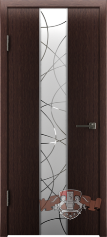 Дверь Владимирская фабрика дверей Токио зеркало1 16ДО7 , цвет венге тёмный, остекленная