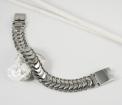 BM344 Массивный мужской браслет из ювелирной стали необычного дизайна (22 см)