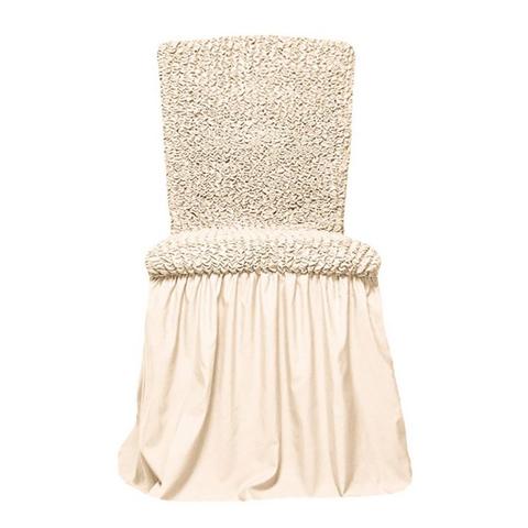 Чехлы на стулья универсальные, комплект из 6 штук, молочный
