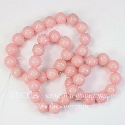 Бусина Жадеит (тониров), шарик, цвет - перламутровый розовый, 10 мм, нить