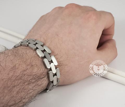 BM345 Необычный матовый браслет из ювелирной стали (21 см)