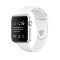 Часы смарт Apple Watch 42 мм из алюминия, спортивный ремешок белого цвета