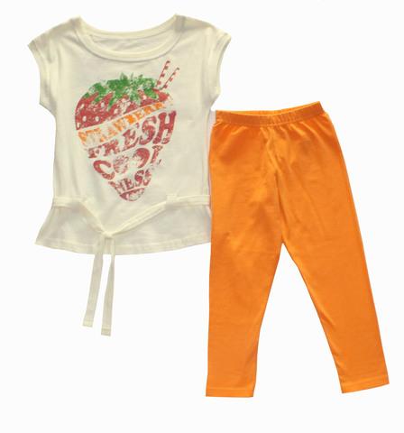 Basia 13-709-017П  Комплект для девочки туника+бриджи  экрю/оранжевый