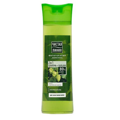 Шампунь Чистая линия 2в1 хмель и репейное масло для всех типов волос 400мл