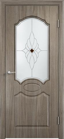 Дверь Верда Афина, стекло Сатинато Ромб, цвет вишня малага, остекленная
